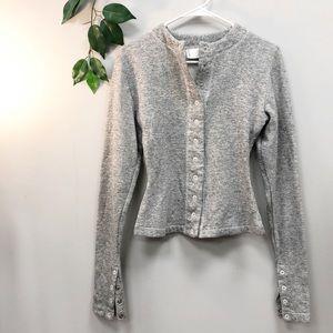 NORMA KAMALI | Grey Cotton Sweatshirt Crop Small